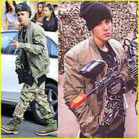 Justin Bieber is Armed & Ready to Shoot His Paintball Gun